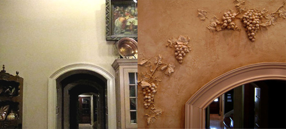 Before and After - 3D Tuscan Grapes - hand plastered custom design