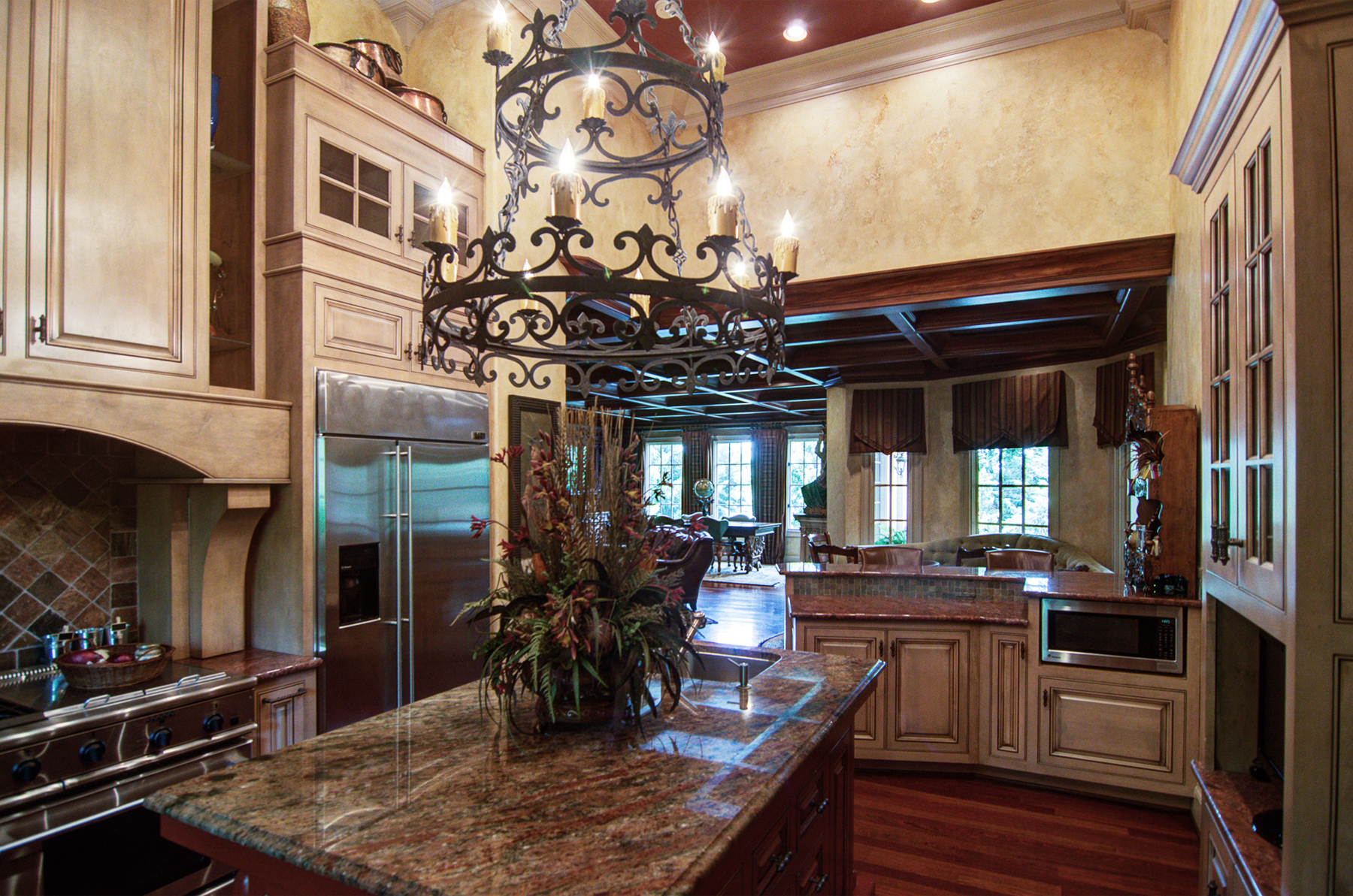Tuscan plaster walls are perfect with warm colored cabinet glazing in this Brentwood client's kitchen. Stunning!